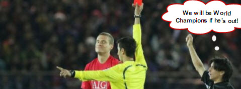 world champion red carded1 Vidic to Miss San Siro Clash